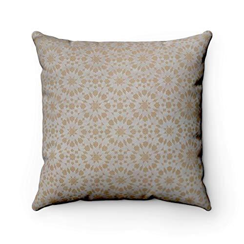 Marokkanischer Designer Jacquard Gemustert strukturierte Chenille geometrische Mosaikfliesen Muster Scatter Kissenbezug - 45,7 x 45,7 cm, cremefarben, 45 x 45 cm - Strukturierte Chenille