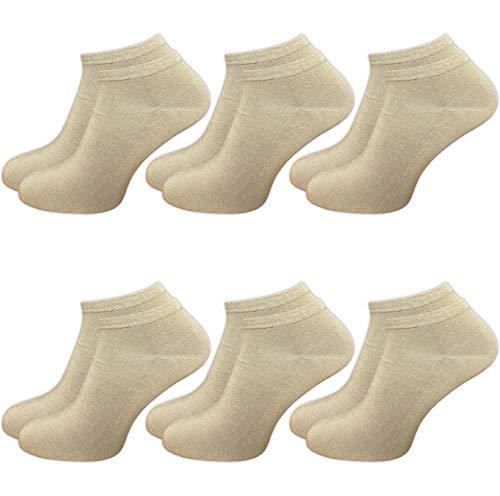 GAWILO 6 Paar Damen Bambus Sneaker Socken, atmungsaktiv und langlebig (35-38, beige) -