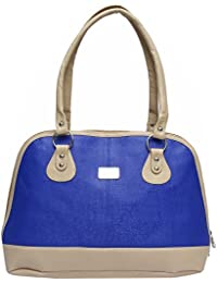Glamora European Style Premium PU Leather Women Top Handle Bag, Blue & Orange