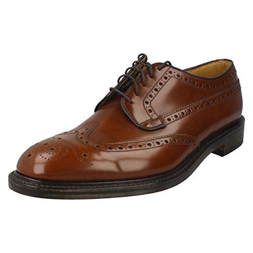 Loake Boîte Braemar Pour Homme Pour Homme Richelieu Cuir Noir Chaussures à Semelle de Cuir Tan (Brown)
