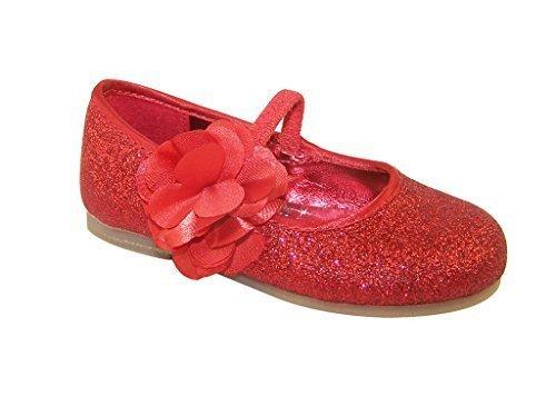 Bambine glitter rosso ballerine scarpe con raso fiore assetto - Rosso, Ragazze', 20 EU