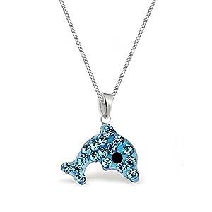 GH* Aqua Blau Kristall Delfin ANHÄNGER + KETTE 925 Sterling Silber Kinder Mädchen Halskette Delphin