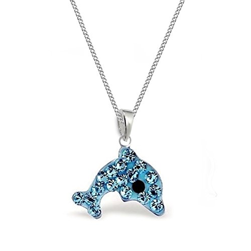 Aqua Blau Kristall Delfin ANHÄNGER + KETTE 925 Sterling Silber Kinder Mädchen Halskette Delphin (mit Kette 40cm) (Silber Sterling Pfote Ring)