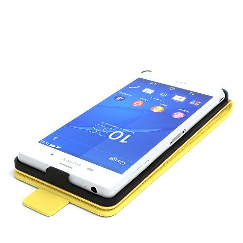 Sony Xperia Z3 Hülle - EAZY CASE Premium Flip Case Handyhülle - Schutzhülle aus Leder in Braun Gelb (Flip)