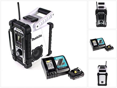 Preisvergleich Produktbild Makita DMR 102 W Baustellen Radio Weiß + 1x BL 1820 18V - 2 Ah Akku + 1x DC 18 RC Schnellladegerät