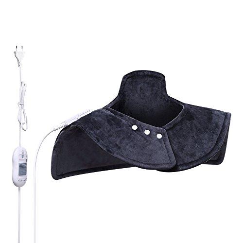 iGuerburn Almohadilla eléctrica para cuello, cervicales, hombros y espalda - 100W - Tamaño:54-60cm , Ideal para dolencias musculares y contracturas, Lavable, - Gris