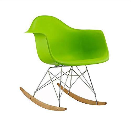 WYL Moderne Minimaliste Loisirs Paresseux Chaise en Plastique Chaise Rocking Chaise basculante Chaise en Bois Massif,Green