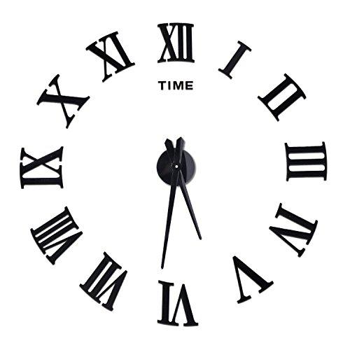 Xinlianda DIY Wanduhr 3D Rahmenlose Modern Clock Acryl Spiegel Metall Wandaufkleber groß Uhr Home Decor (Schwarz 2)