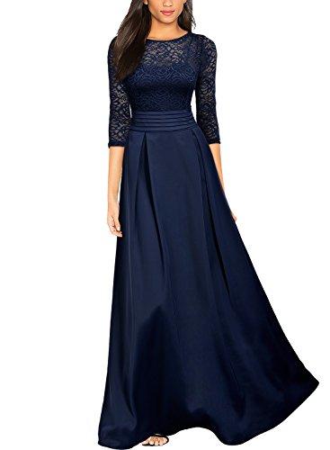 Abendkleider Lange Damen (MIUSOL Damen Vintage Spitzenkleider Hochzeit Elegant Brautjungfer Abendkleider Dunkelblau Gr.XXL)
