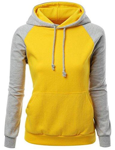 Brinny Dames Casual hoodies Veston sweat à capuche à manches longues pour hiver Jaune+Gris
