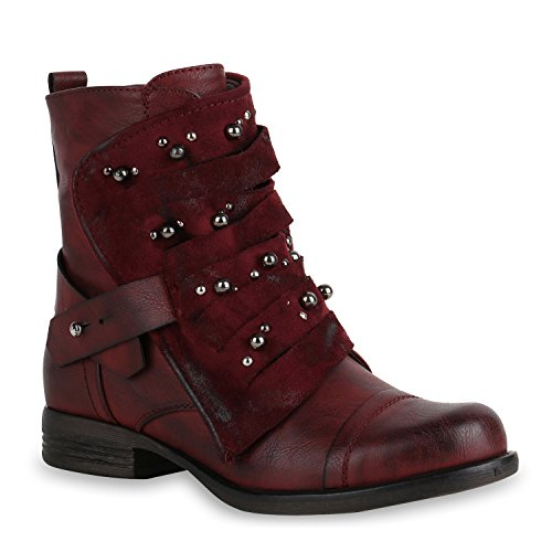 Damen Stiefeletten Biker Boots Stiefel Leicht Gefütterte Schuhe 151382 Dunkelrot Agueda 38 Flandell