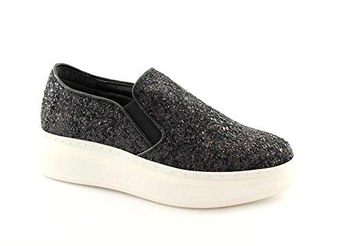 Divine Follie 8456B Nero Scarpe Donna Sportive Sneakers Slip On Pelle Glitter Nero
