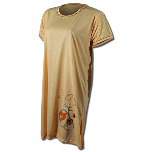 Lavazio Chemise de nuit pour femme à manches courtes à motifs Abricot