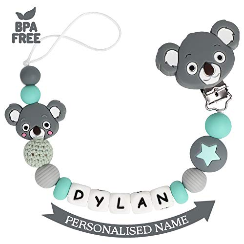 Schnullerkette mit Namen Junge Mädchen Schnuller Clip Personalisierte Schnuller Dummy Clips Silikon Perlen Koala Beißring BPA Frei für Babys (Dunkel Grau) (Schnuller Newborn Mit Clip)