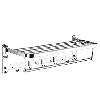 Foccoe plegable toalla estantes con toallero de barra soporte de pared baño estante con ganchos toallero de acero inoxidable pulido (tamaño: 60 * 22,5 * 17,2 cm)