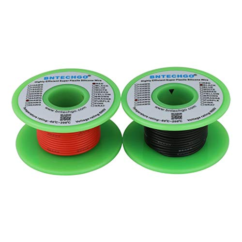 BNTECHGO 26 Gauge Silicone Wire Spool 50 feet Ultra Flexible High Temp 200 deg C 600V 26 AWG Silicone Wire 30 Strands of Tinned Copper Wire 25 ft Black and 25 ft Red Stranded Wire for Model -