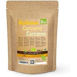 NATURACEREAL Cúrcuma Orgánica en polvo 1kg - | Curcuma Ecologica molida | Condimento altamente nutritivo y sabroso |