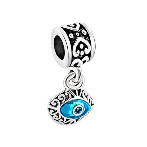 Korliya - Pendente per braccialetti a forma di occhio greco portafortuna di colore azzurro e Base, cod. EMW_DPC_MY562