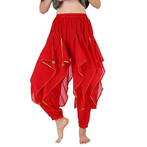 Bauchtanz Kostüm Ats - Nannday Bauchtanz Kostüm, modische Frauen Bauchtanz Kostüm lange Hosen Hose 2 Farben(rot)