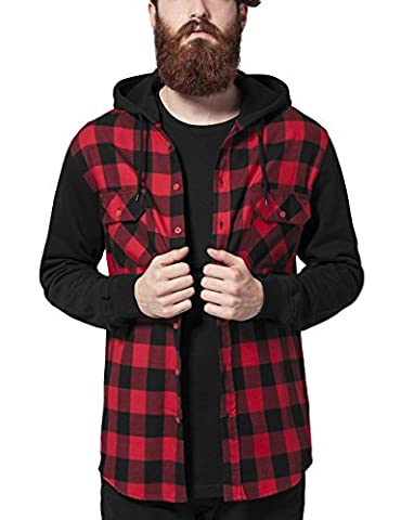 Urban Classics Herren Freizeithemd Hooded Checked Flanell Sweat Sleeve Shirt Mehrfarbig (Blk/Red/Bl 283), Small