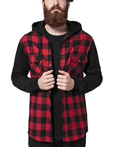 Urban Classics Hooded Checked Flanell Sweat Sleeve Shirt, Camicia Uomo, Mehrfarbig (Blk/Red/Bl 283), Small