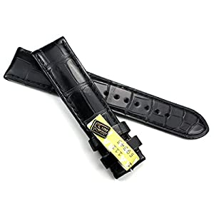 GRAF 20mm / 18mm ECHT Louisiana Schwarz/Black Kroko Uhrenband Band Germany Alligator KROKOBAND B92