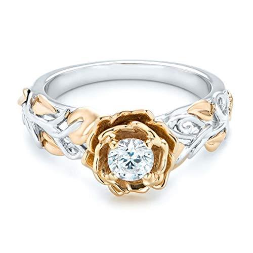 Botreelife Two Tone Zirkon Ring für Frauen Rose Blume gekreuzt Floral Strass Ring Schmuck Zubehör (Größe 10) (Kostüm Schmuck Ringe Größe 10)