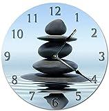 Mari57llis 15' Classic Wood Clock, Non Ticking Clock Vintage Amazing Zen Stones In Water Clock Wooden Decorative Round Wall Clock