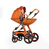 Amberzcy Kinderwagen, Luxus 4 Rad Schnell Falten Kinderwagen Von Geburt Zu 30 kg (Farbe : Orange)