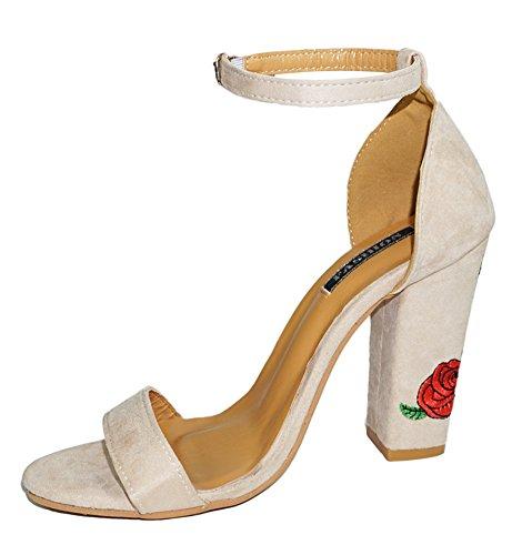 Minetom Donna Estate Cinturino Caviglia Fibbia Festa Tacco Alto Stiletto Sandali Rosa Ricamo Tacco Sandali Beige