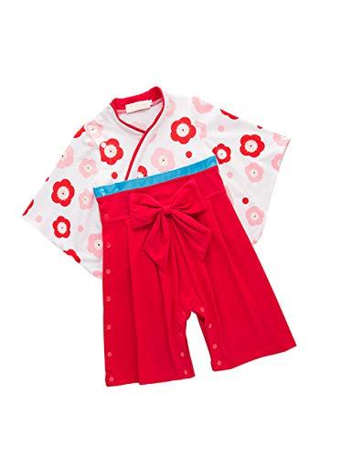 Girl Month 18 12 Kostüm - Kleinkind Jumpsuit Kinder Baumwolle Kimono - Mädchen Lange Ärmel Spielanzug Jungen Japanischen Stil Kleidung (Rot)