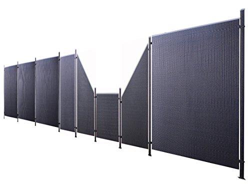 Poly-Rattan Sichtschutz / Zaun-Set 17-teilig schwarz ca. 974cm Prime Tech