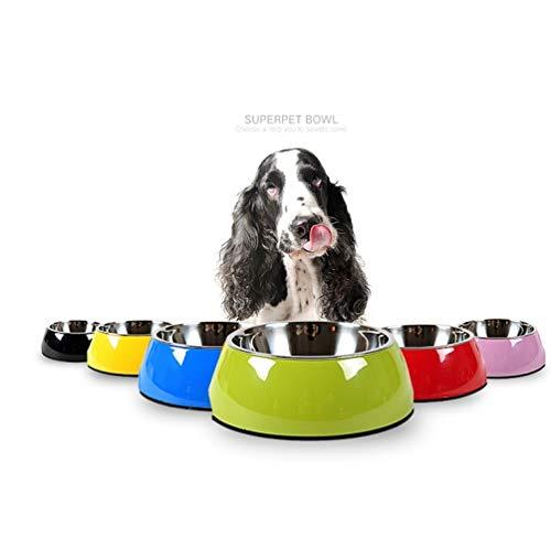 WEII Pet Food Bowl Liefert Edelstahl Dog Pot Katze Topf Haustier Hund Katze Rutschfeste antikollisions Schüssel,Grün,M