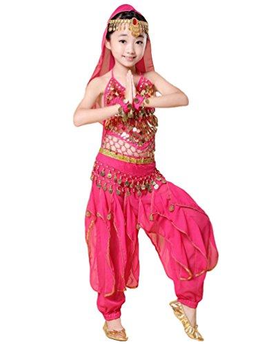 t Mädchen Kinder Bauchtanz Halloween Hosen Tanzkostüm-Set Rose#4 L (Rote Haut Anzug Kinder Kostüme)