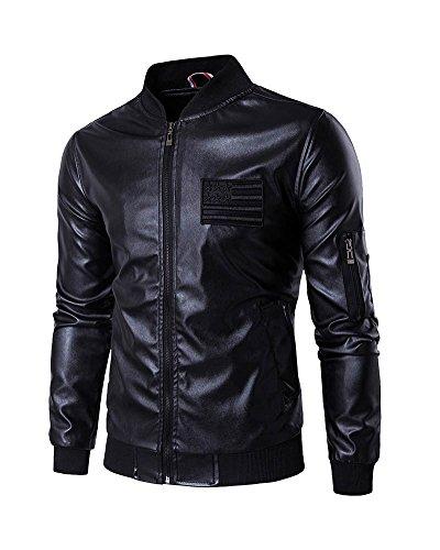 10e4f9a0bcad4 Homme Blouson En Imitation Cuir Veste Col Montant Manches Longues Noir S