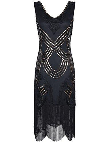 Kayamiya Damen Retro 1920er Jahren Perlen Pailletten Floral Franse Gatsby Flapper Kleid M Gold