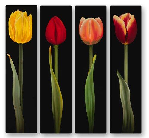 23.5h x 27W metallo opera d' arte contemporanea fiori astratti scultura Handmade pittura tulipani