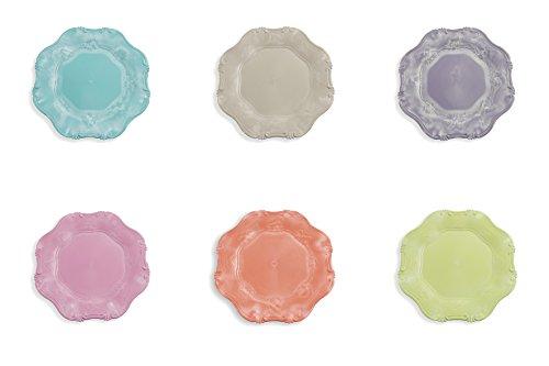 Villa d'Este Home Tivoli Hippy Lot de 6 Assiettes de présentation en Plastique, Multicolore, 34,5 x 34,5 x 2 cm