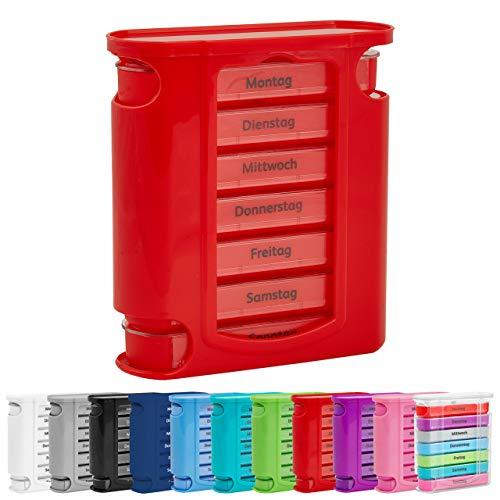 WELLGRO® Tablettenbox für 7 Tage - je 4 Fächer pro Tag, 11,5 x 4,5 x 13 cm (BxTxH) - Farbe wählbar, Farbe:Rot