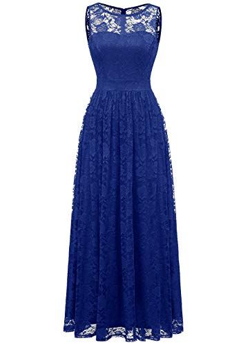 n Lace lange Brautjungfer Kleid Party Kleid Cocktailkleid royalblue XL ()