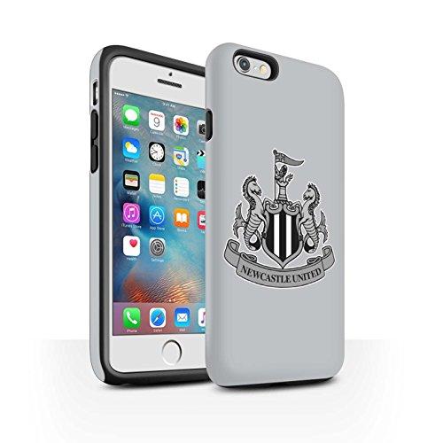 Officiel Newcastle United FC Coque / Matte Robuste Antichoc Etui pour Apple iPhone 8 / Mono/Noir Design / NUFC Crête Football Collection Mono/Gris