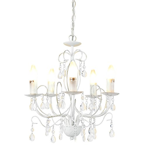 [lux.pro] Lüster Kronleuchter 'Antique' [5 x E14 Sockel][40 cm x Ø 44 cm] Kronlampe [Lüster Anschluss] Zimmerlampe Wohnzimmerlampe -