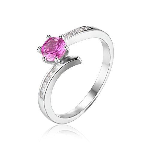 JewelryPalace Klassisch 0.7ct Synthetisch Rosa Saphir Ringe 925 Sterling Silber Für Frauen Und Mädchen Größe 51 to 59