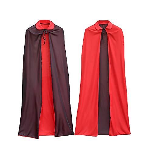 BUY-TO Halloween Kostüme für Jungen Herren Kragen Death Vampire Mantel Cape Kleid Rot Schwarz 2 Side Wear Party Robe für Erwachsene Kinder,1.4M