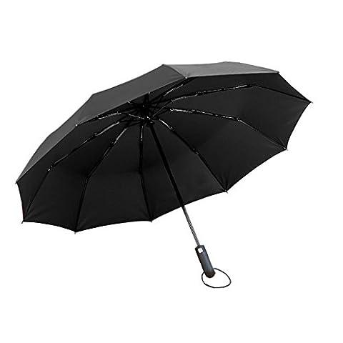 Automatic umbrella folding large reinforced double students three fold umbrella men and women business rain and rain ( Color : Black