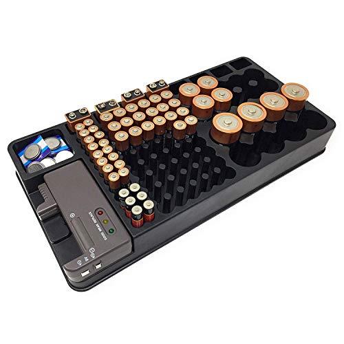 REFURBISHHOUSE Batterie Speicher Organisator Halter Mit Tester - Batterie Caddy Rack GEH?use Box Halter Einschlie?lich Batterie Checker für AAA AA C D 9V Und kleine Uhren batterien