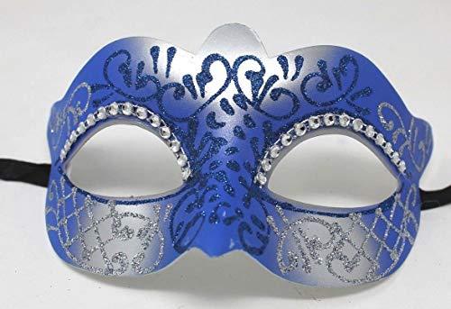 Damen Blau und Silber Kristall Jeweled Venezianischen Masquerade Partei Karneval Maske