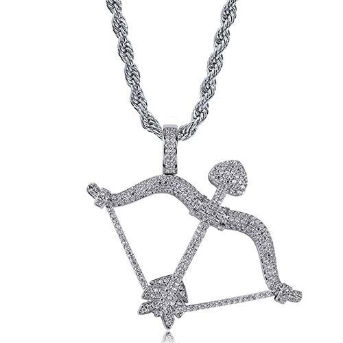 """MXMYFF Hip Hop Halskette Unisex Kleine Europa und Amerika Mythologie Amor Pfeil Persönlichkeit Hip Hop Solide Anhänger 24""""Box Kette Halskette,Silver"""
