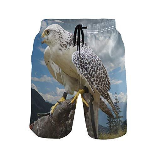 Herren Badehose Falcon Bird Animal Quick Dry Beach Shorts mit Taschen Kordelzug Boy Men