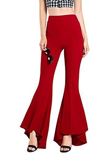 YACUN Les Femmes Fusée Pantalon Slim Pantalons Extensibles Bell red